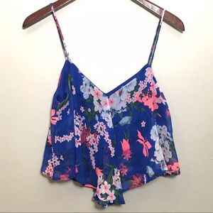 Crop Top Floral Sz Large Blue Blouse Shirt Peplum